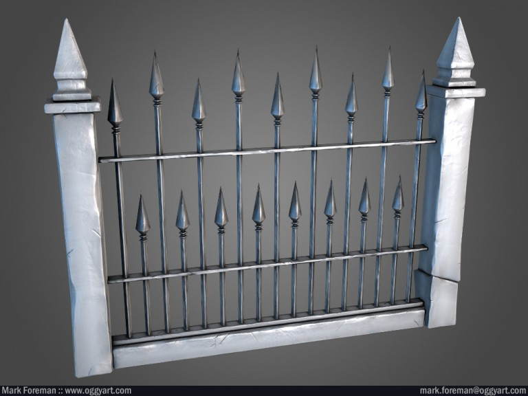 Graveyard Railing Lo-Poly Normal and AO