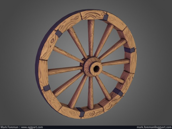 Cart Wheel Low-Poly Baked