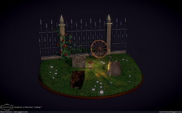 Fantasy Graveyard Mini Scene Overview