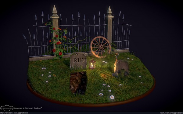 Fantasy Graveyard Mini Scene Updated Front Overview
