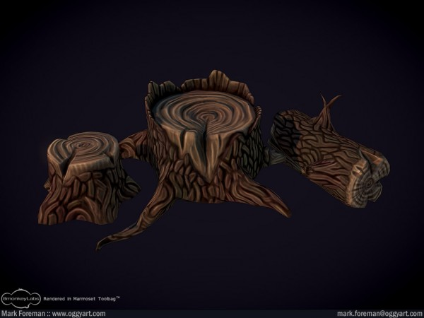 graveyard tree stumps log lowpoly