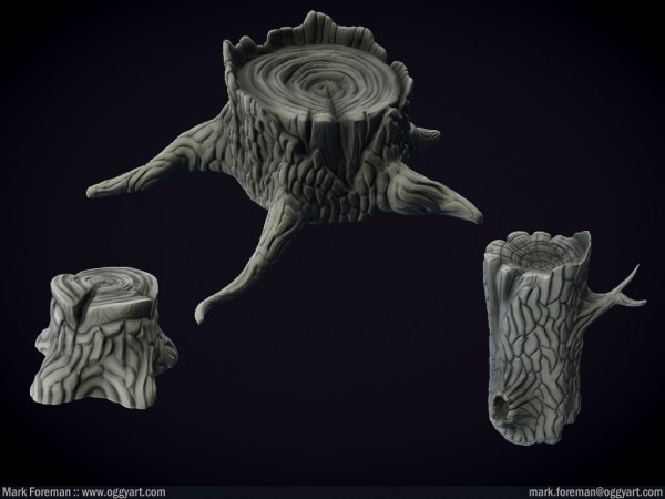 graveyard tree stumps log mudbox highpoly